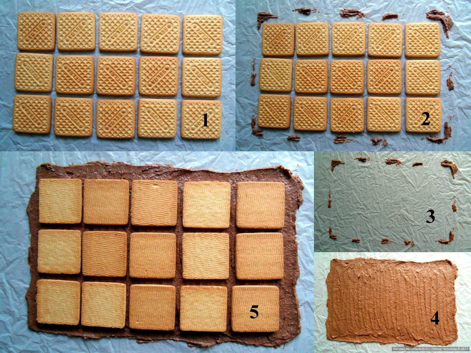 Печенья можно брать шоколадные, тогда в массу можно класть 3 ложки какао.
