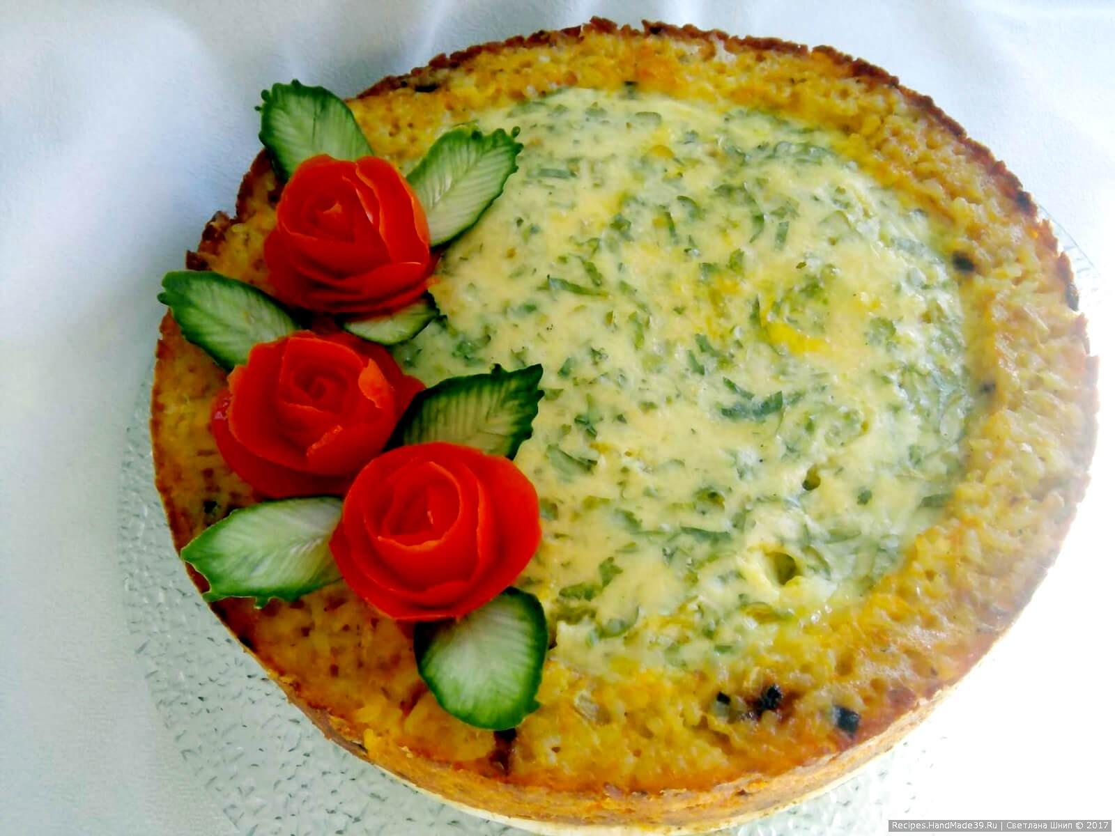 Рецепт рисового пирога с рыбой и сыром