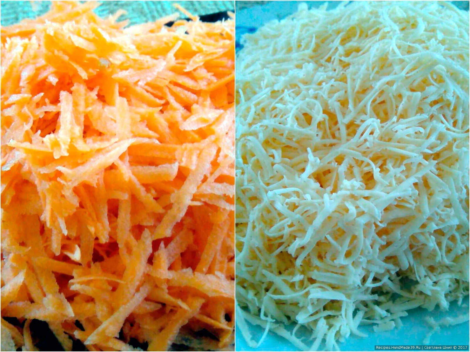 Сыр и морковь натереть на мелкой тёрке