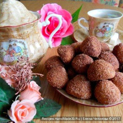 Как испечь песочное печенье с какао в виде трюфельных конфет