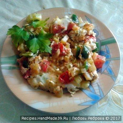 Яичница с овощами – пошаговый рецепт с фото.