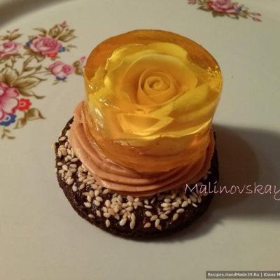Пирожное «Танец света» – лимонное желе на шоколадно-песочной основе с карамельным кремом, кунжутом – пошаговый рецепт с видео