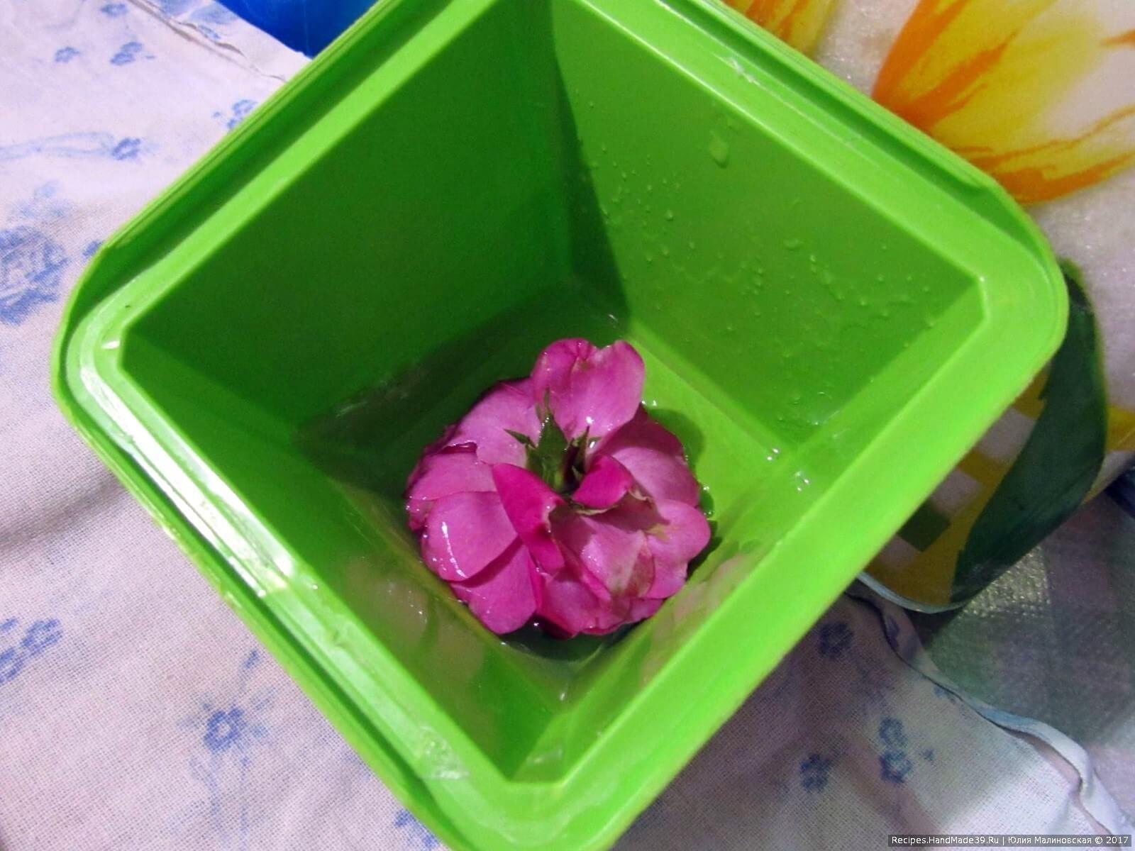 Приготовление желе с цветком: в форму налить 2 ст. л. желе. Форму поставить так, чтобы желе стекло в угол. Окунуть в него цветок, оставить для схватывания желе
