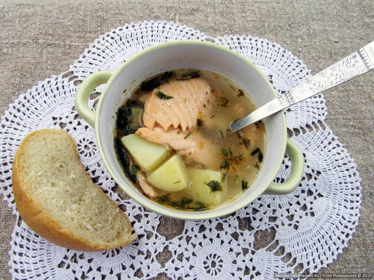 Суп с лососем, овощами и пшеном