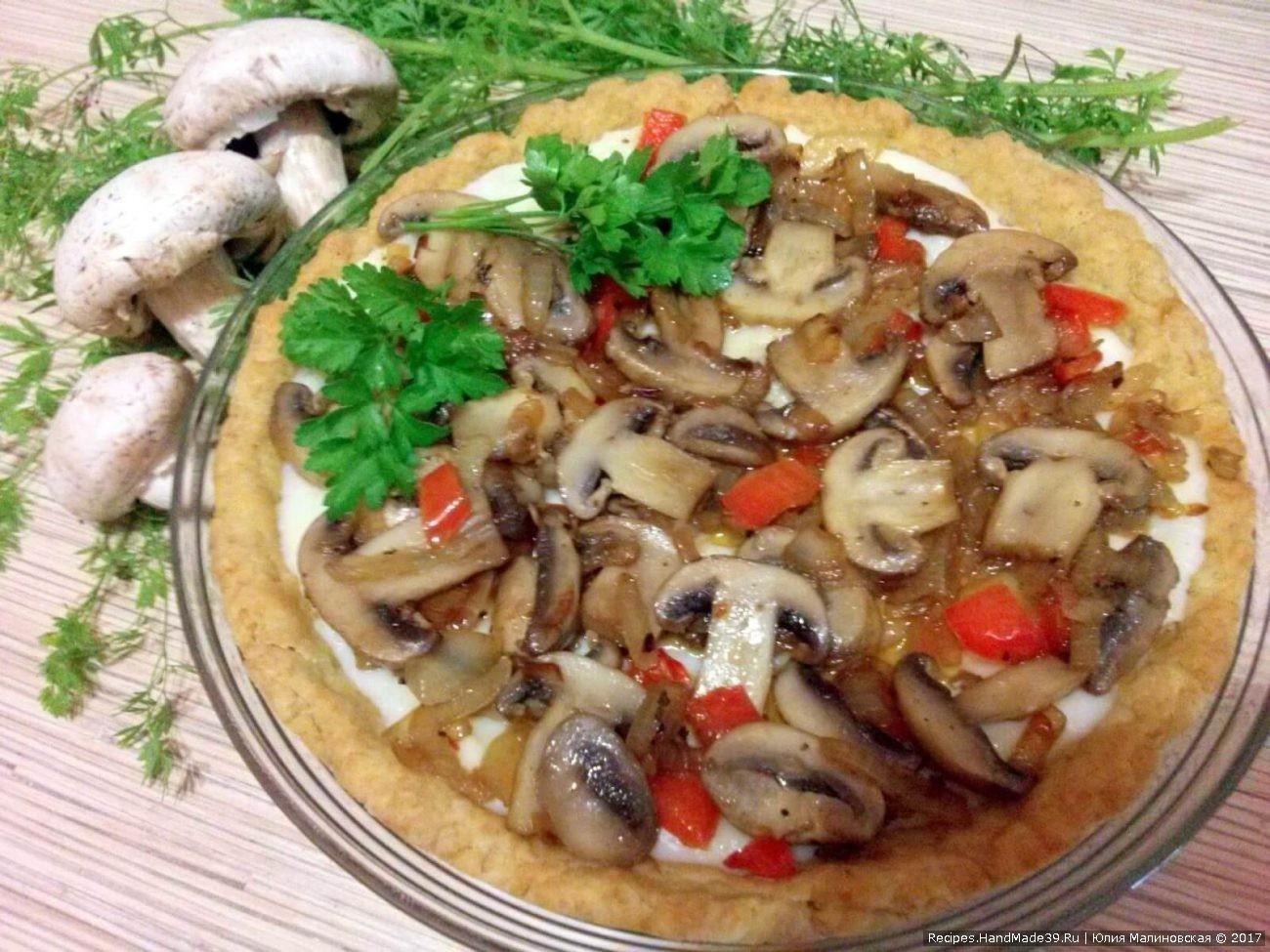 Песочный пирог-пай с грибами