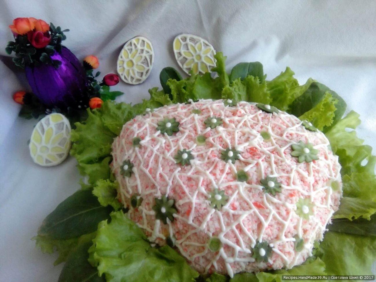 Салат с креветками и крабовыми палочками «Пасхальное яйцо»