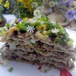 Закусочный торт «Тортилья» с мясом и грибами