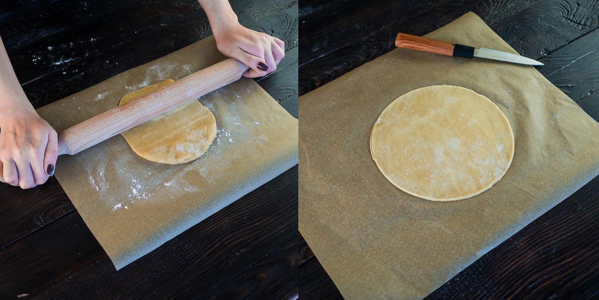 Отдохнувшее тесто разделите на 10–12 частей и тонко раскатайте