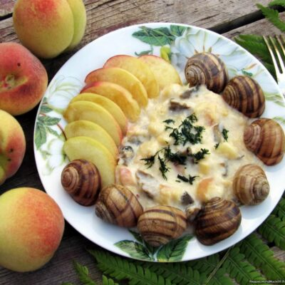 Как приготовить дома тушёных виноградных улиток с персиками, пошаговый рецепт с фото