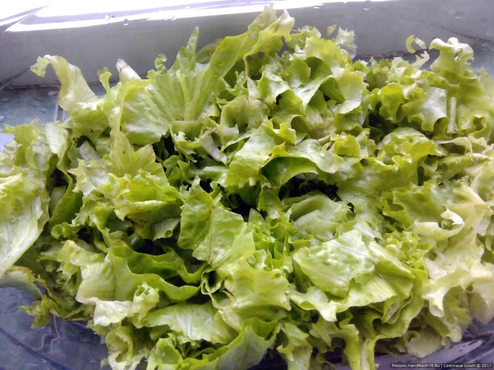 Приготовление греческого салата: листовой салат порвать на кусочки