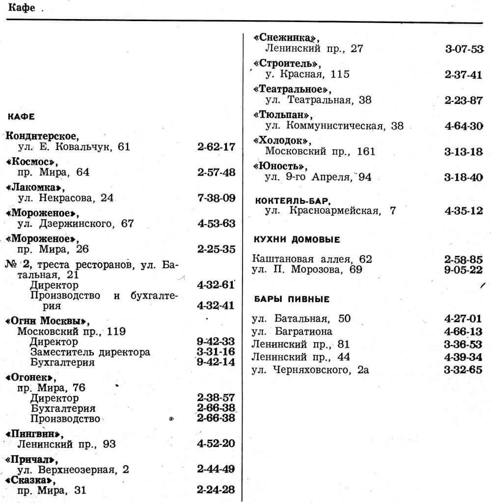 Страницы из телефонного справочника Калининграда за 1983 год с кафе и ресторанами