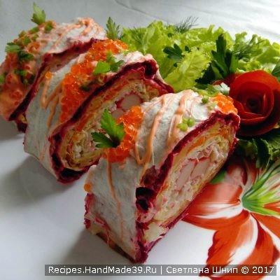 Рулет из лаваша с крабовыми палочками – пошаговый рецепт с фото