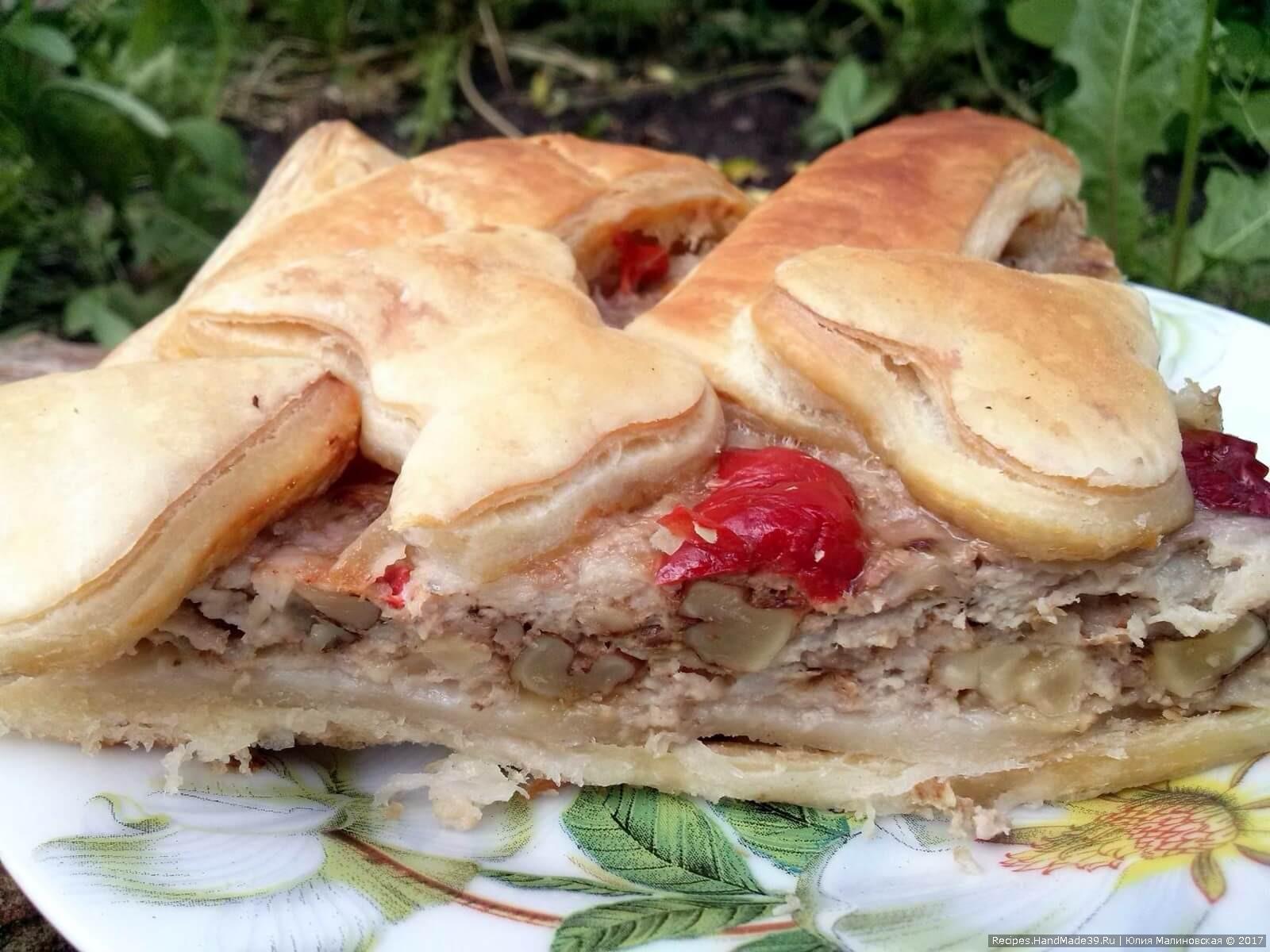 Как сделать слоёный пирог с мясом и орехами – пошаговый рецепт с видео