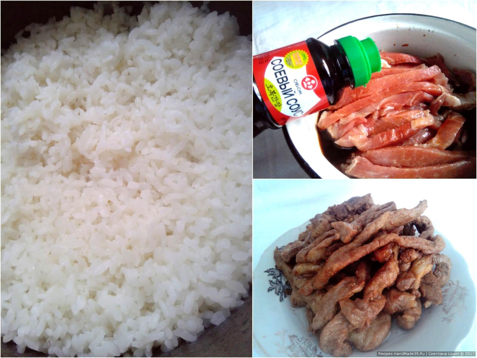 Мясо нарезать соломкой, залить соевым соусом для маринада и оставить на полчаса. Затем обжарить