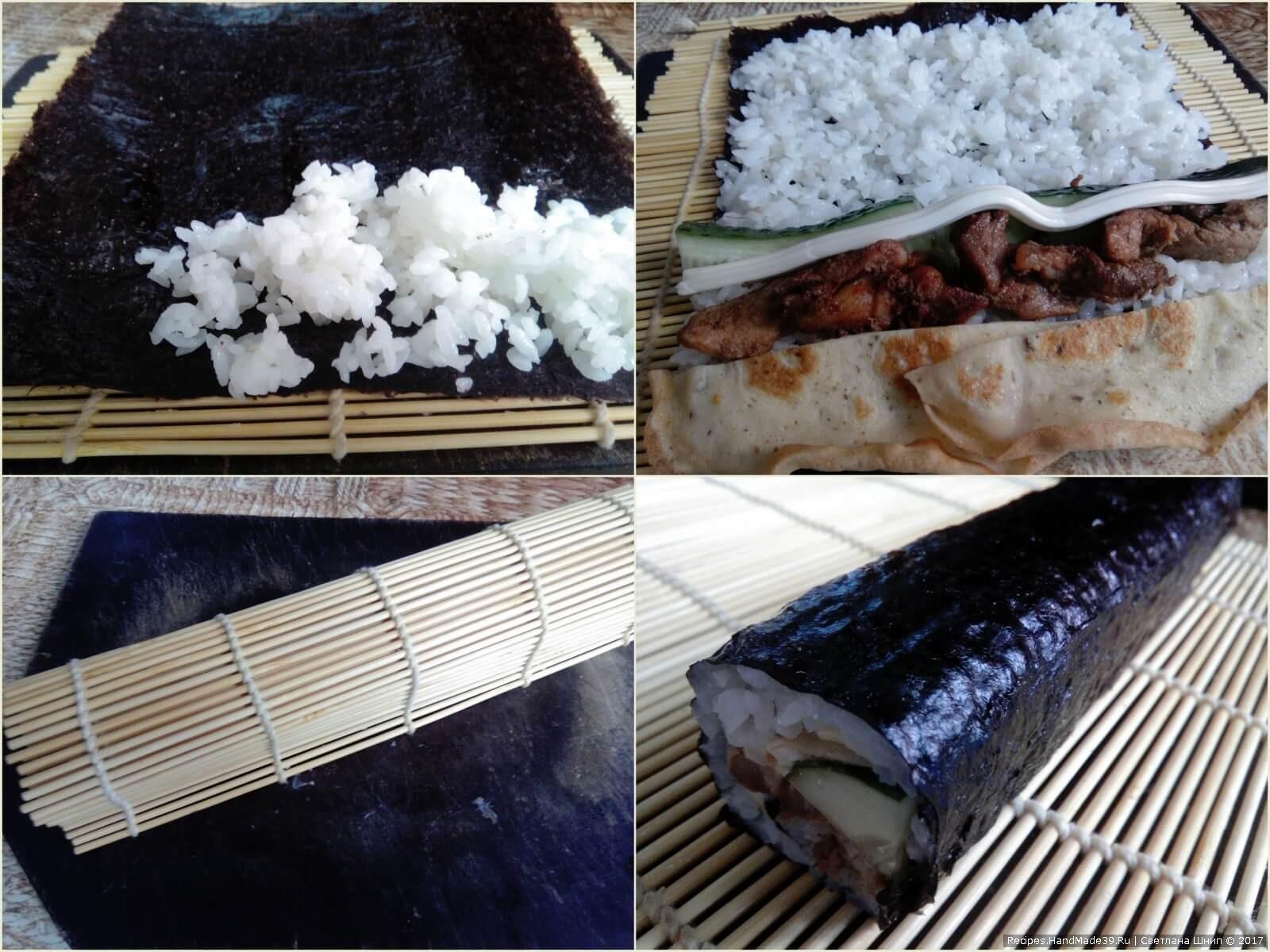 На коврик положить ким (нори). Положить рис, аккуратно разровнять. Далее выкладываем начинку. Аккуратно свернуть. Нарезать острым ножом