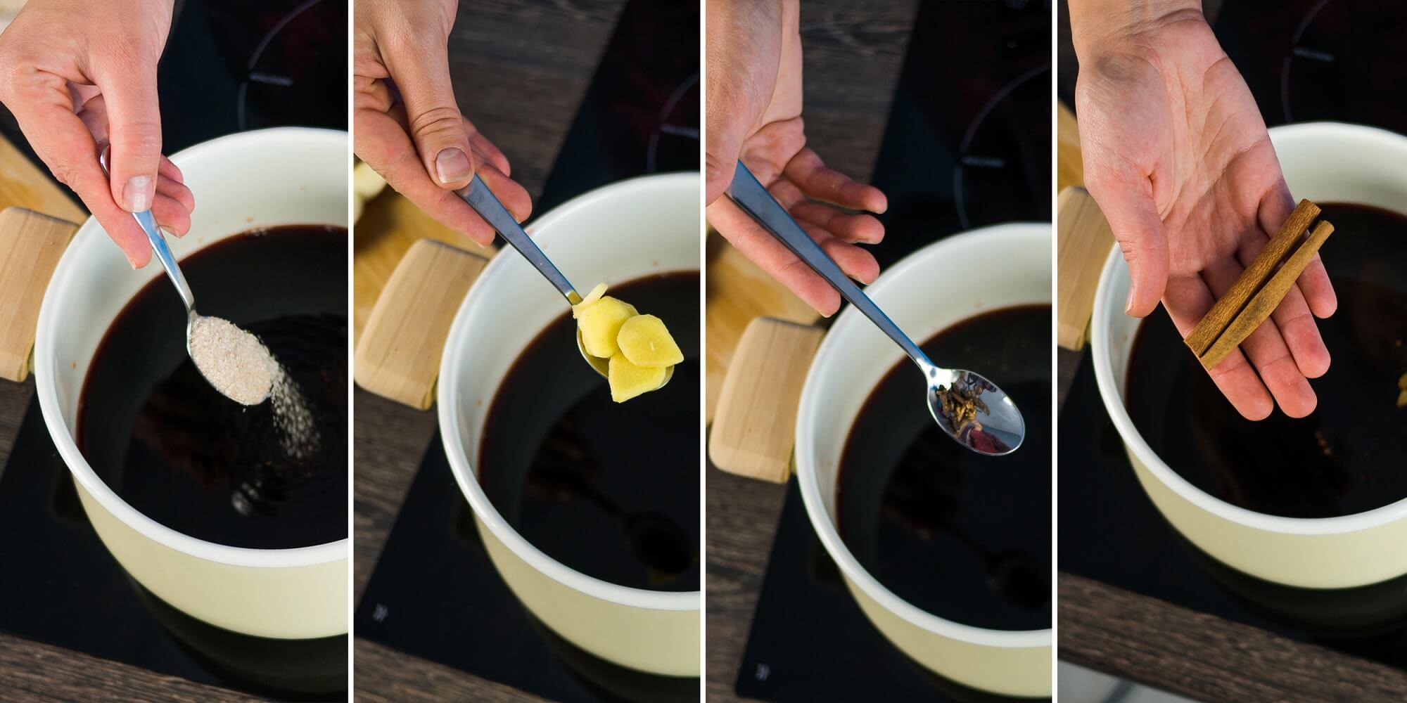 Положите специи и сахар с корицей