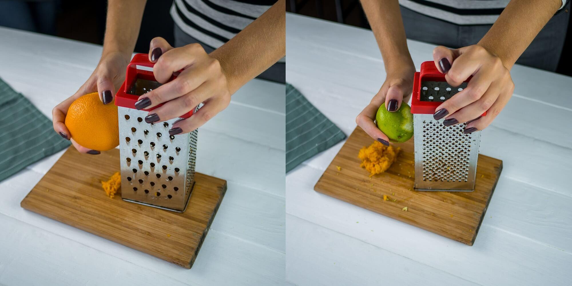 Натрите цедру апельсина и лайма