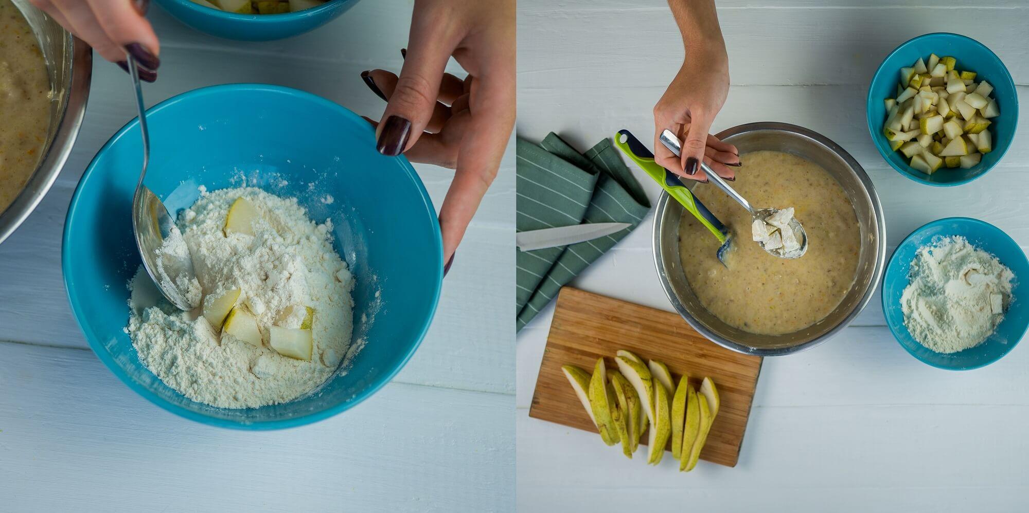 Кусочки груш обваляйте в муке и добавьте в тесто