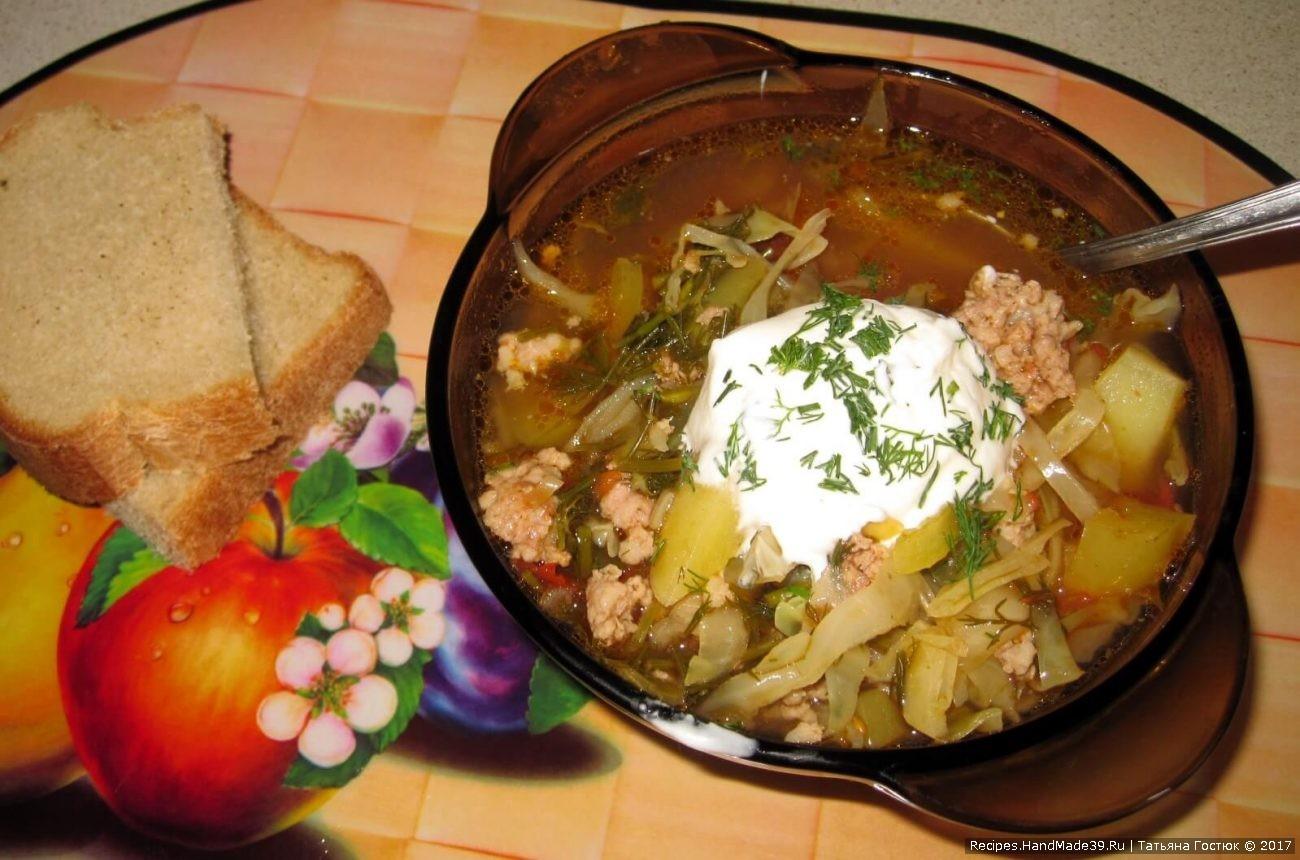 «Чехословацкий» суп с мясным фаршем
