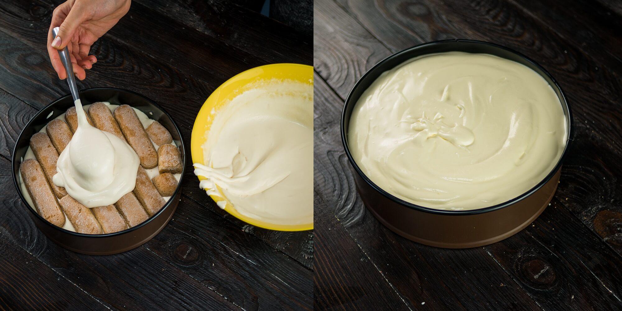 Сверху положите второй слой печенья и остатки крема