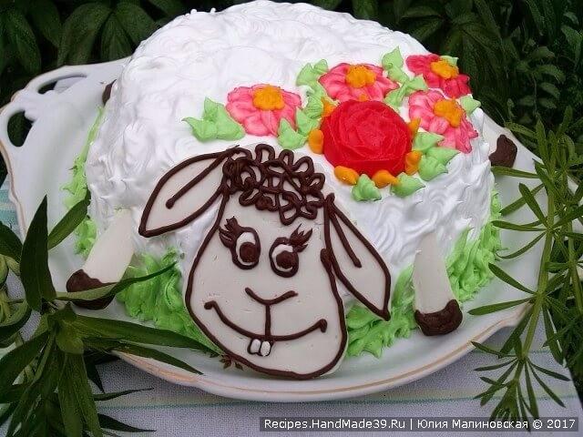 Торт с вафельными коржами «Овечка»