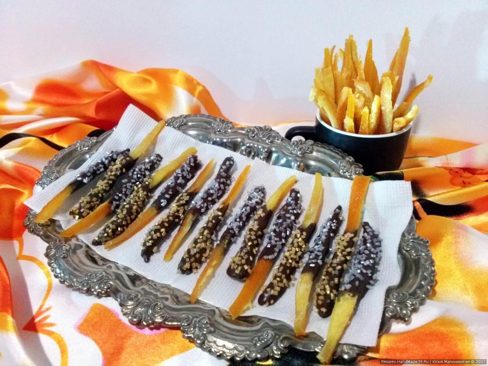 Апельсиновые цукаты в шоколаде – эффектный и вкусный десерт, который можно легко приготовить в домашних условиях. Приятного аппетита!