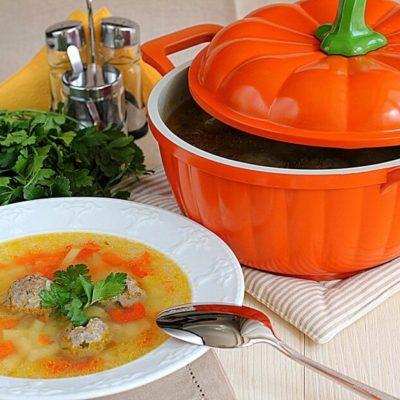 Пошаговый рецепт классического супа с фрикадельками, овощами на мясном бульоне