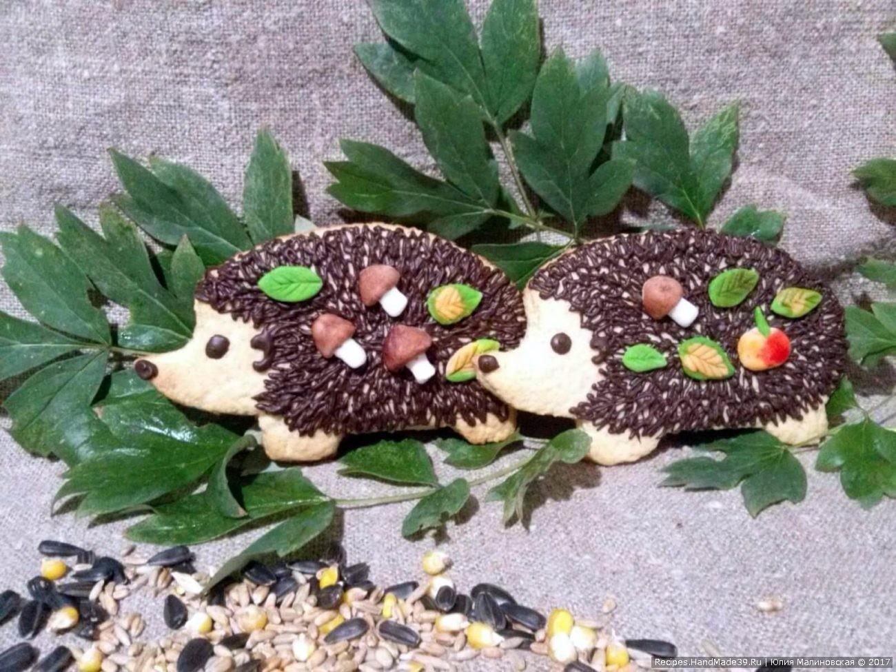 Фигурное песочное печенье для детей «Ёжики»