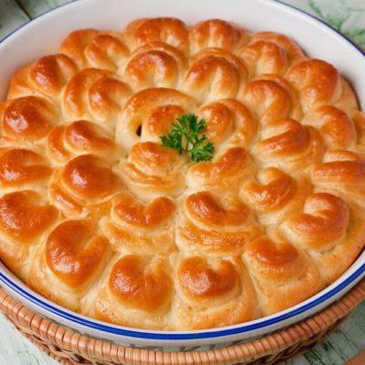 Пирог с мясом «Хризантема» – пошаговый рецепт с фото