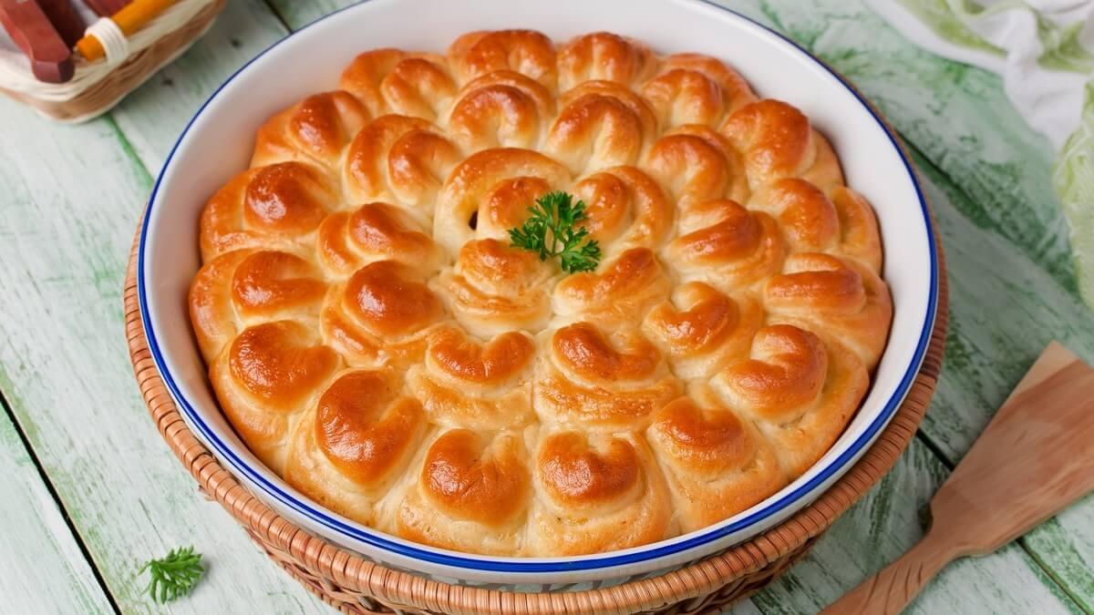 Пирог с мясом «Хризантема»