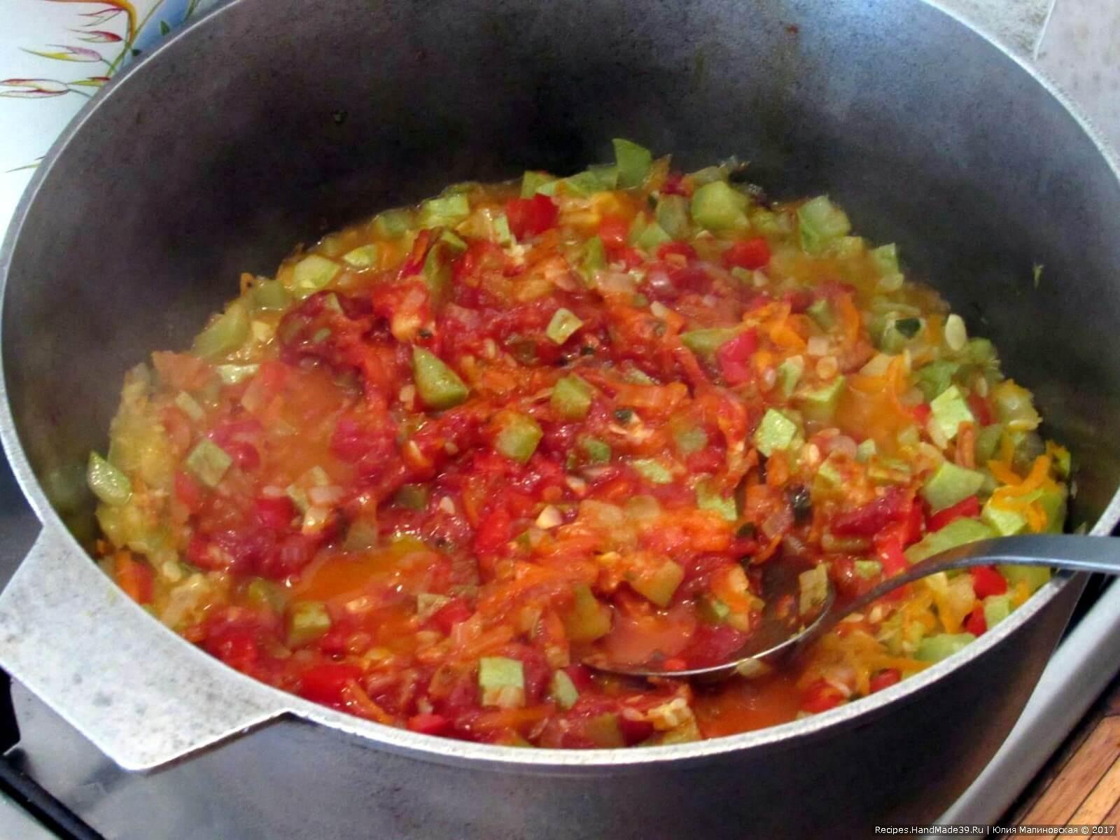 Добавить томатную пасту, соль, перец – тушить ещё 5-10 мин