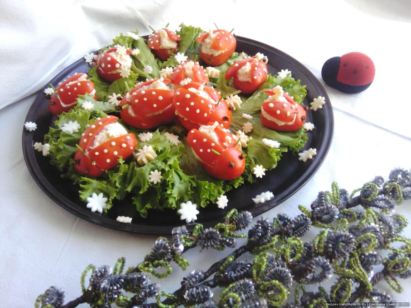 Закуска «Божьи коровки» из помидоров, сыра, яиц, чеснока – пошаговый рецепт с фото. Приятного аппетита!