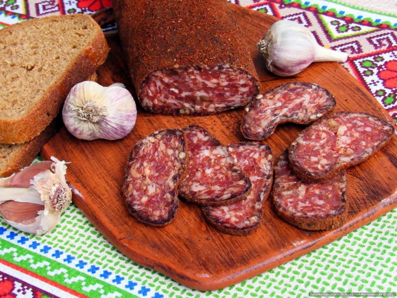 Домашняя вяленая колбаса из говядины