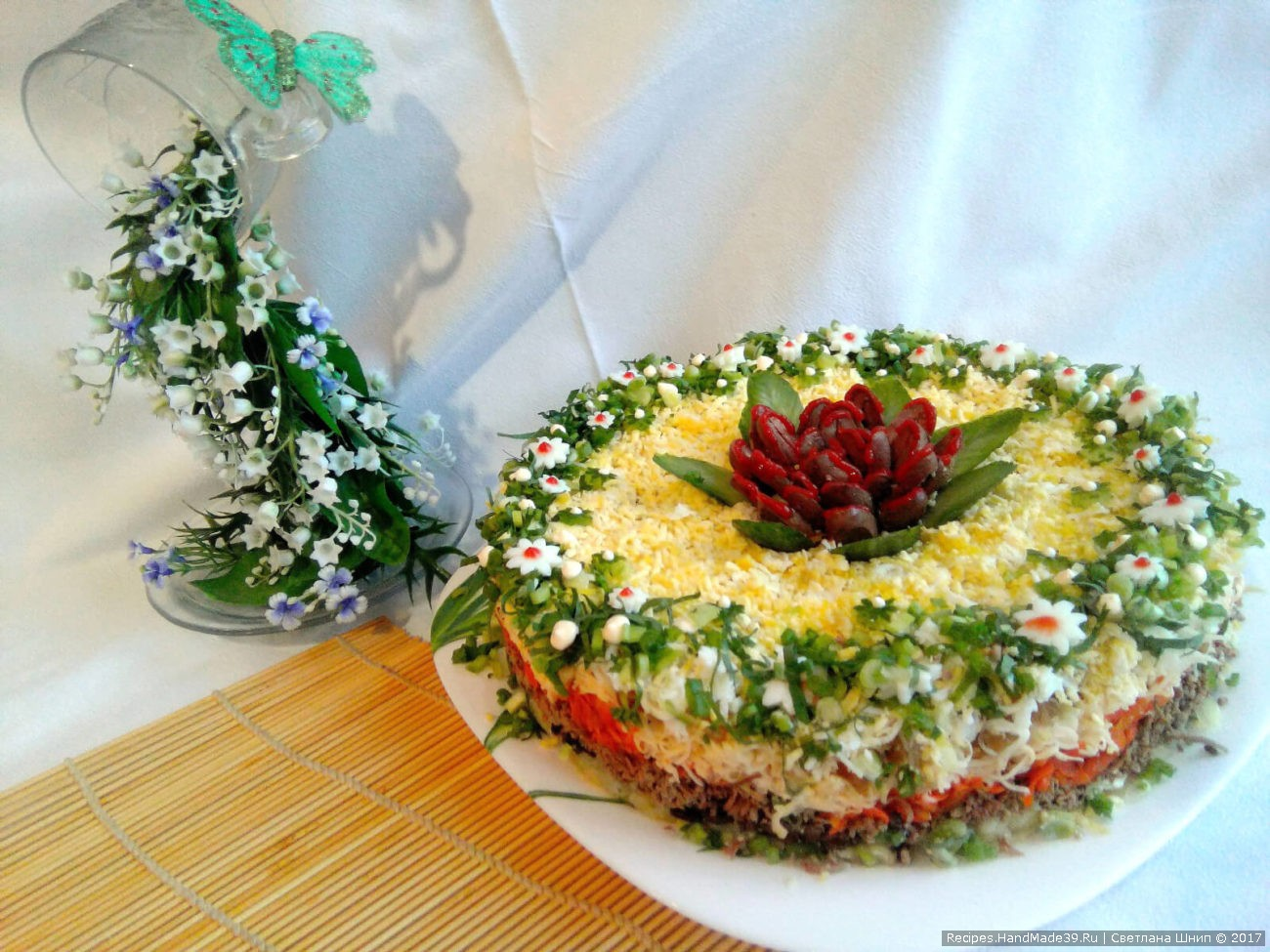 Салат с куриной печенью и грибами