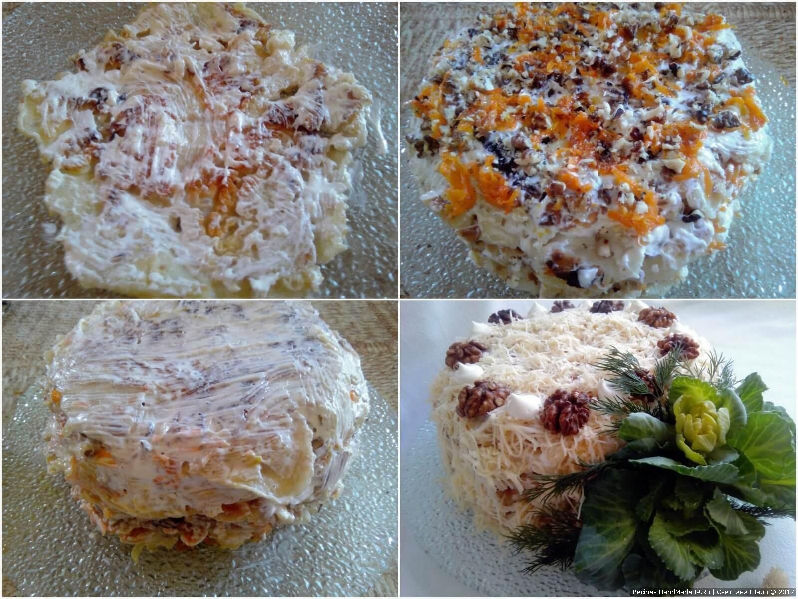 Пошаговый рецепт овощного торта «Наполеон» из капустных листьев с морковью, луком и орехами