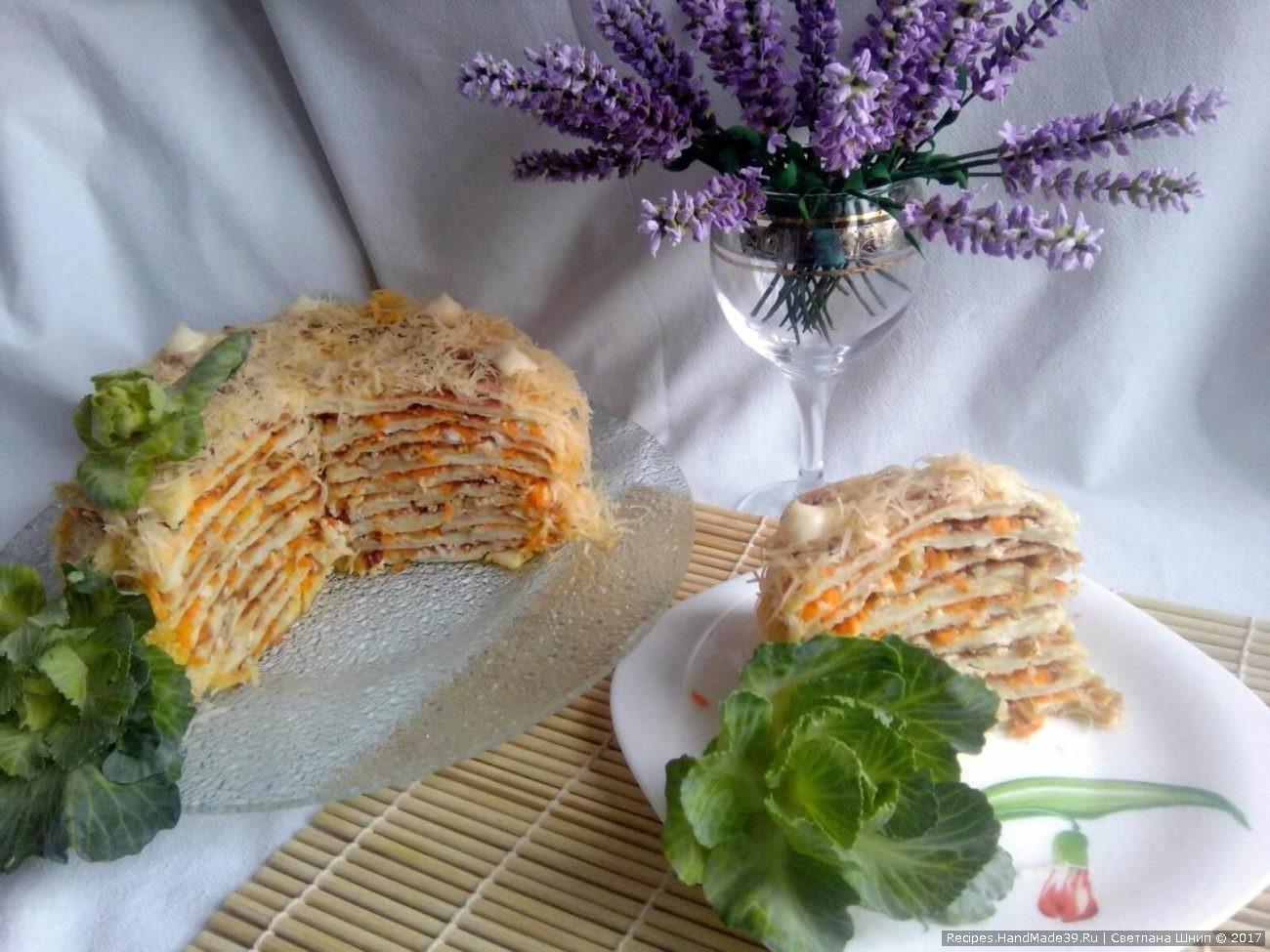 Овощной торт «Наполеон» из капустных листьев с морковью, луком и орехами