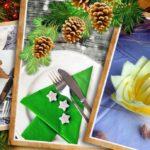 Украшаем новогодний стол: салфетки, ёлочки