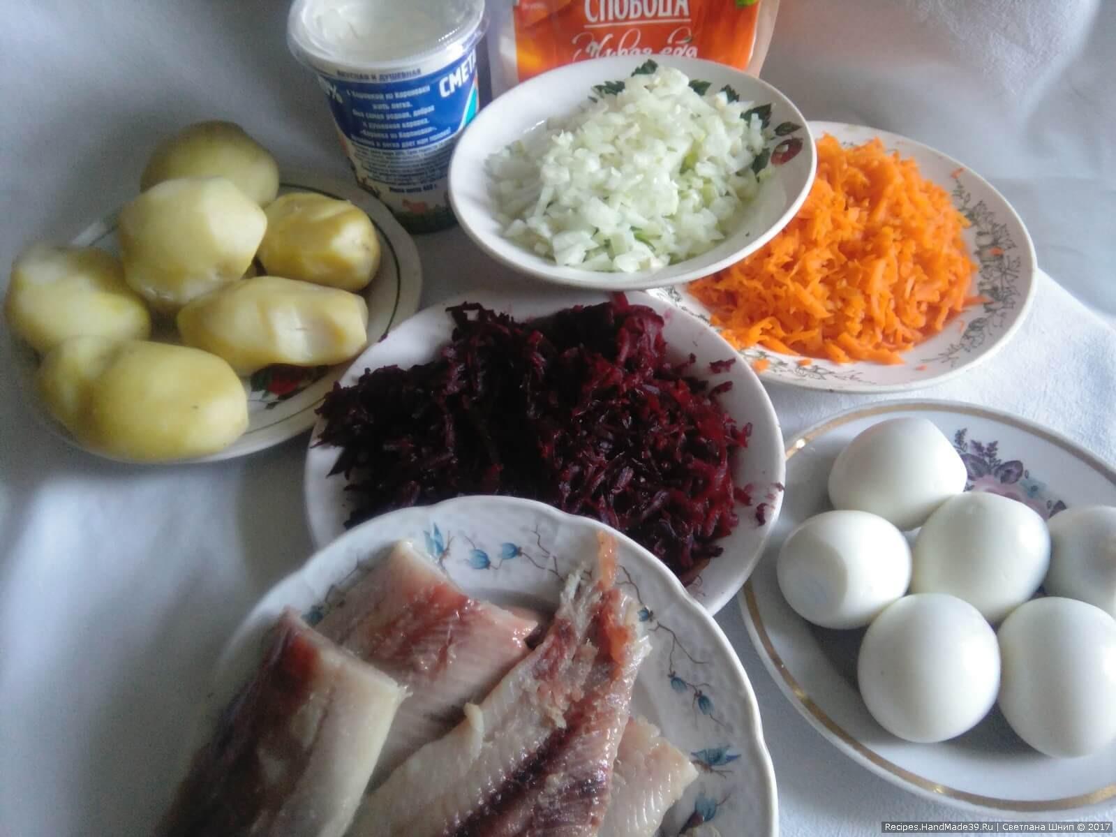 Сельдь под шубой – подготовка продуктов