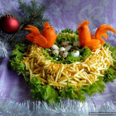 Салат из куриных желудков «Гнездо» – пошаговый кулинарный рецепт с фото