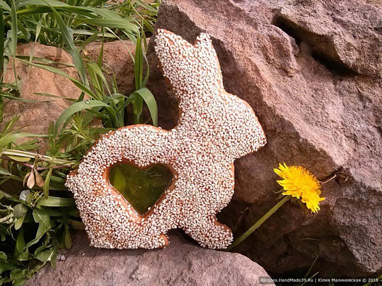 Пасхальный тульский пряник «Зайчик» с карамельным окошком