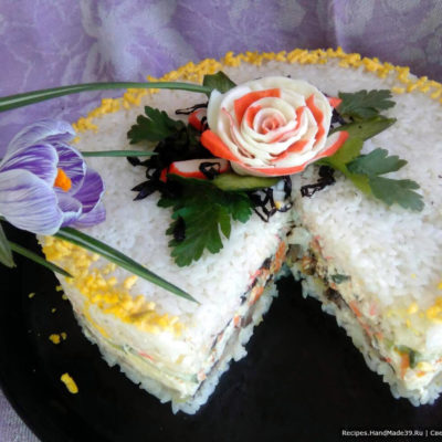 Салат-торт с копчёной скумбрией – пошаговый кулинарный рецепт с фото