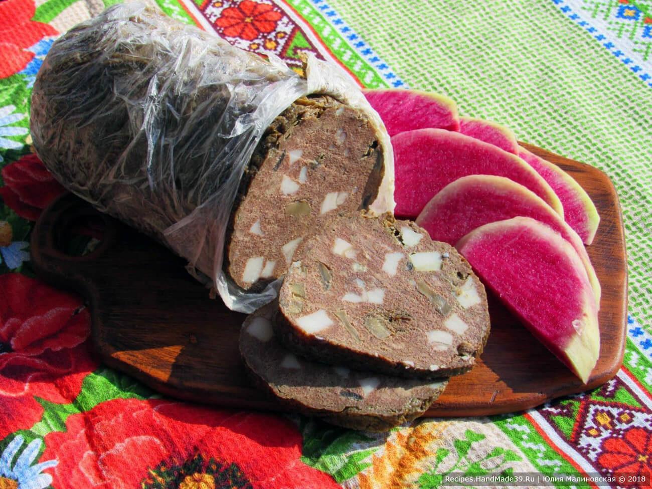 Зельц из свиной печени с грибами