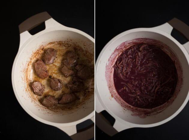 Говядина по-бургундски – фото шаг 2. Обжаренное мясо переложить в отдельную посуду. На сковороду выложить нарезанный полукольцами лук. Убавить огонь и обжаривать примерно 5 минут. Присыпать лук мукой, перемешать и влить стакан сухого красного вина