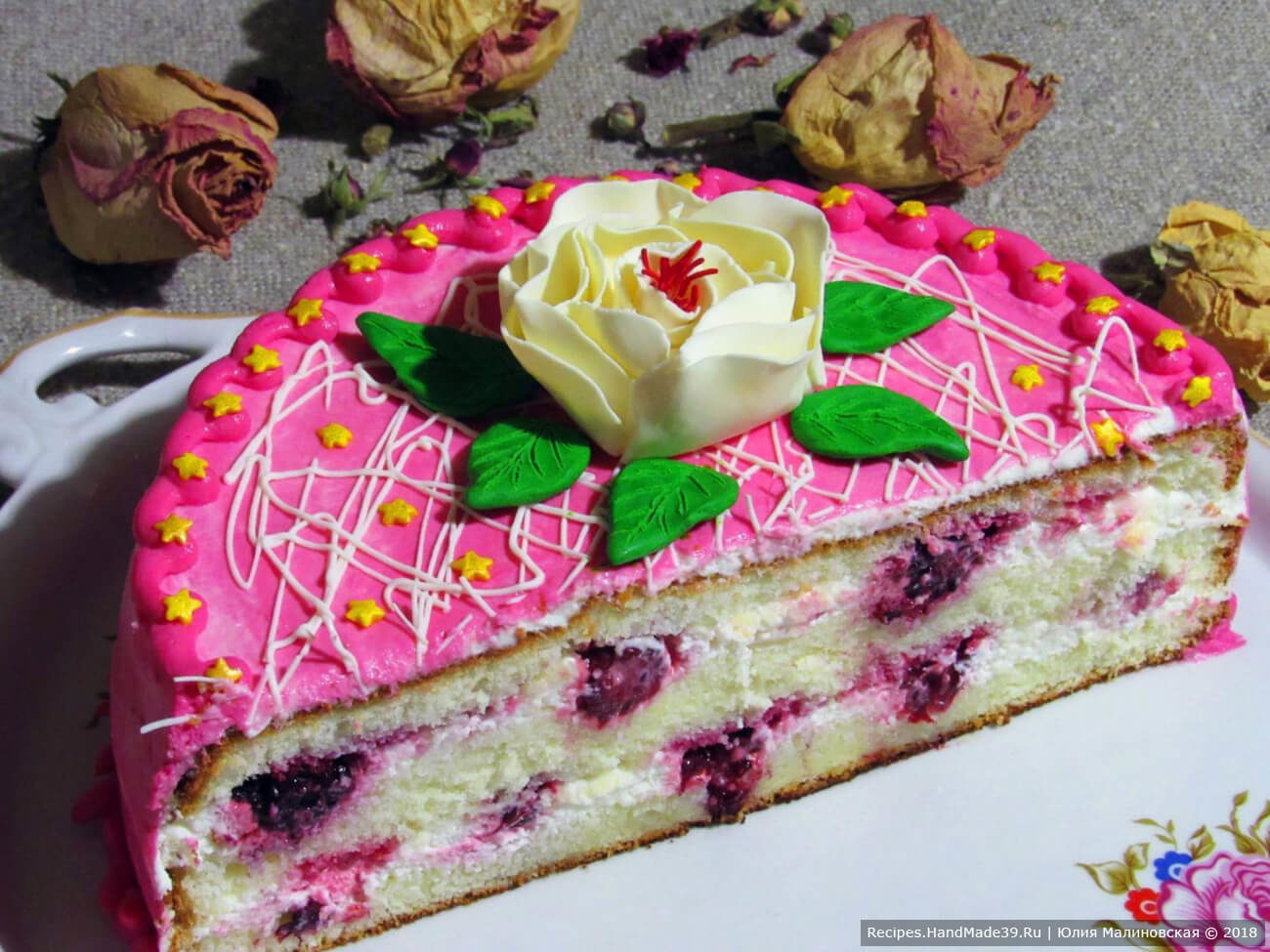 Торт «Ежевика» со сметанным кремом