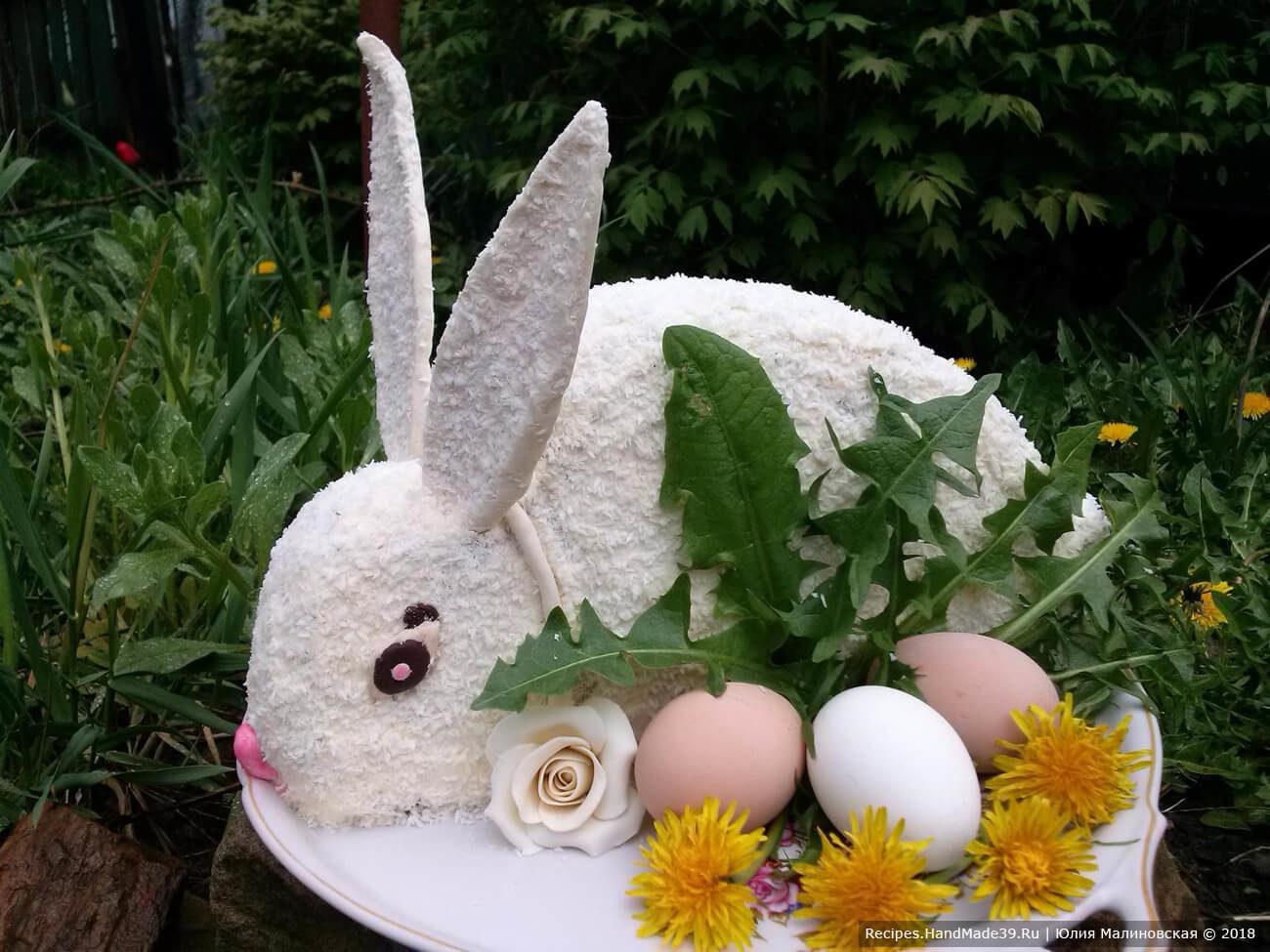 Шоколадный торт «Кролик» с изюмом и кремом Шарлотт
