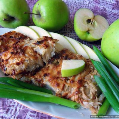 Камбала, запечённая под яблочной шапкой – пошаговый рецепт с фото