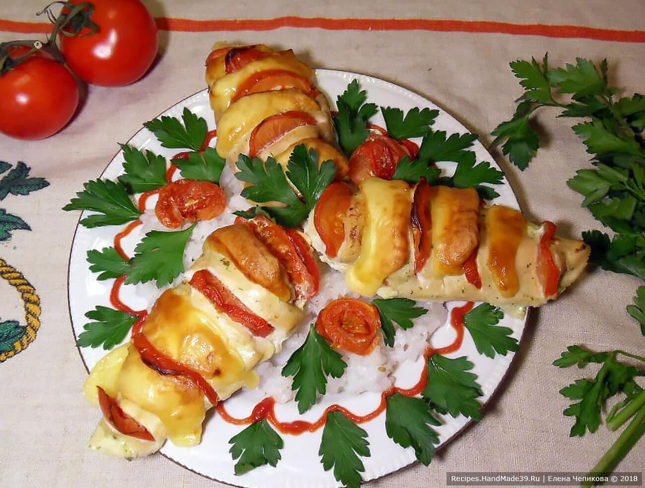 Курица с сыром и помидорами «Зебра»