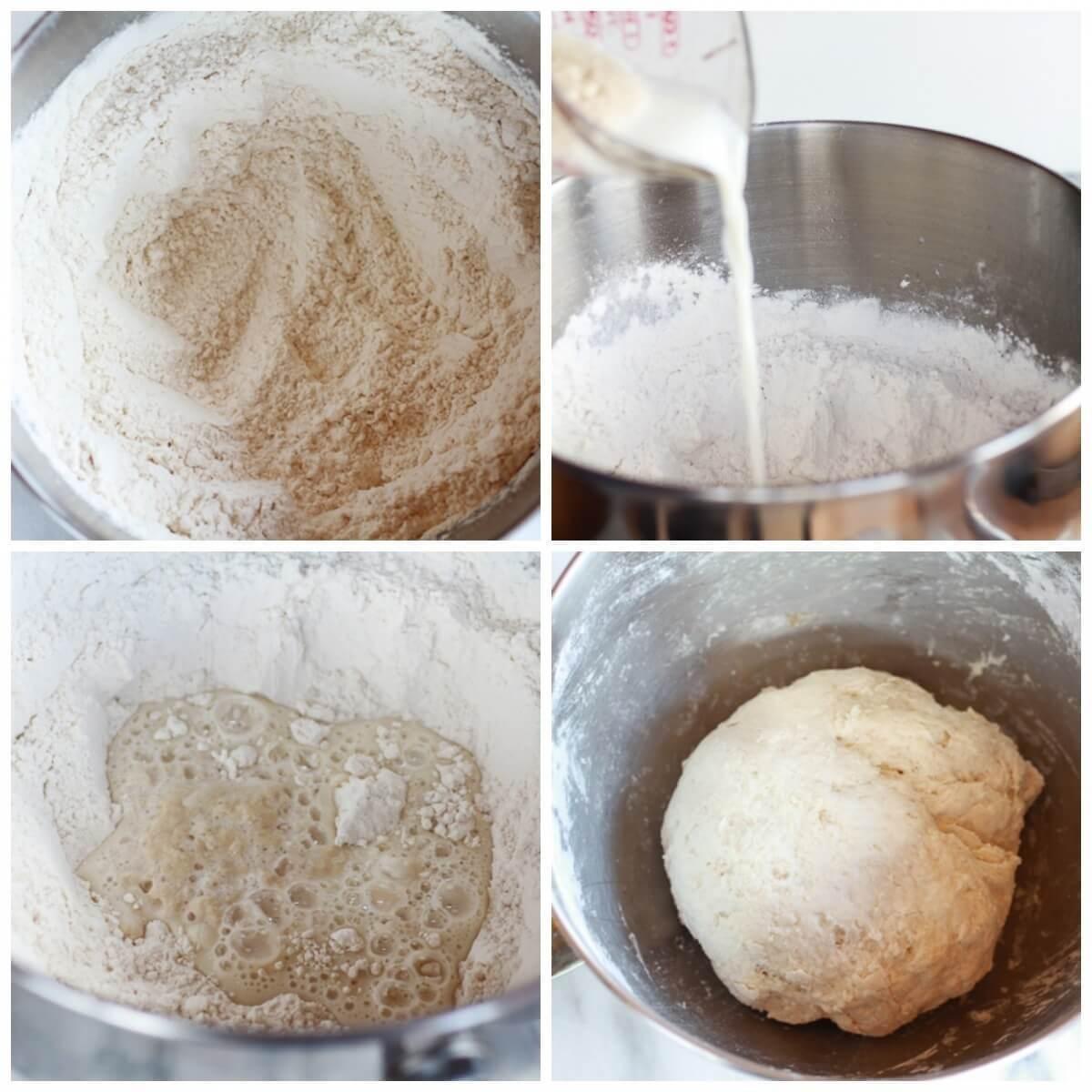 Когда дрожжи вспенятся и будут пахнуть хлебом, добавить молоко, йогурт, муку, разрыхлитель, пищевую соду, соль. Перемешать деревянной ложкой до однородности теста. Тесто должно быть липким, мягким и при этом образовывать шарик