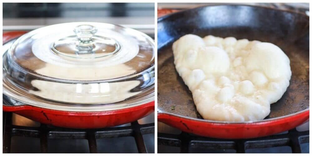Разогреть чугунную сковороду на среднем огне. Выложить на сковороду наан, накрыть крышкой, выпекать 1 минуту, пока не начнут образовываться пузыри