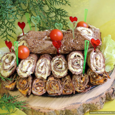 Рулетики из печени с двумя начинками – пошаговый кулинарный рецепт с фото